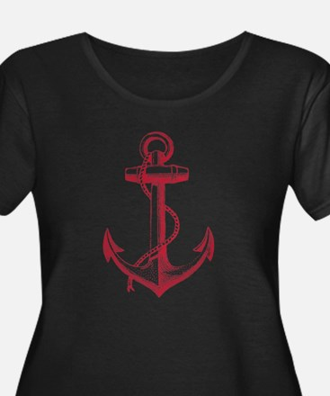vintage red anchor Plus Size T-Shirt