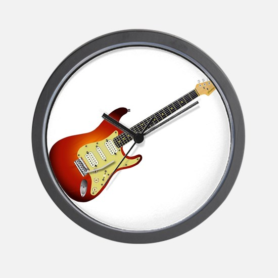 Sunburst Electric Guitar Wall Clock