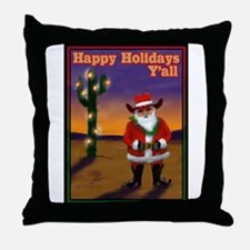 Western Santa Throw Pillow