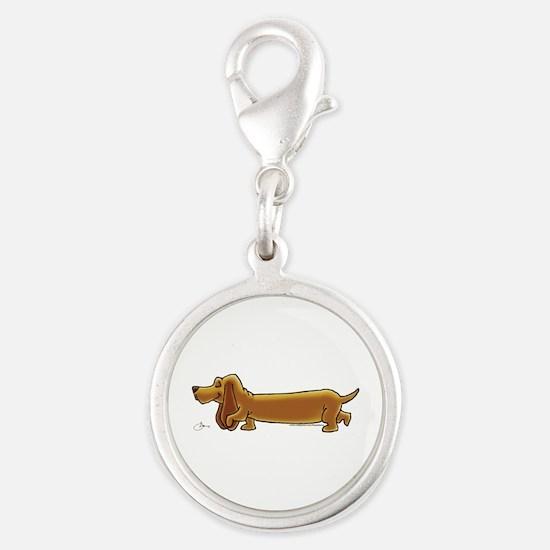 NEW! Weiner Dog Silver Round Charm