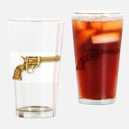 Golden Six Gun Drinking Glass