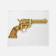 Golden Six Gun Throw Blanket