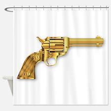 Golden Six Gun Shower Curtain