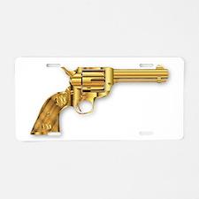 Golden Six Gun Aluminum License Plate