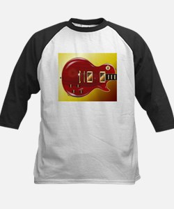 Red Grained Guitar Baseball Jersey