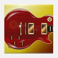 Red Grained Guitar Tile Coaster