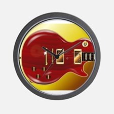 Red Grained Guitar Wall Clock