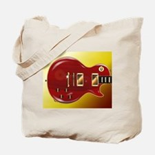 Red Grained Guitar Tote Bag