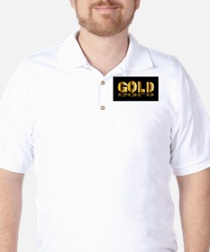 Gold Text On Black Golf Shirt