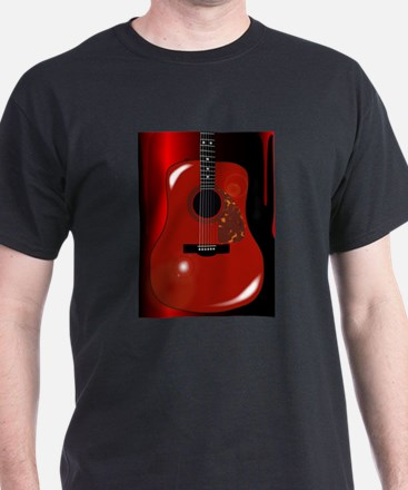 Red Acoustic Guitar Background T-Shirt