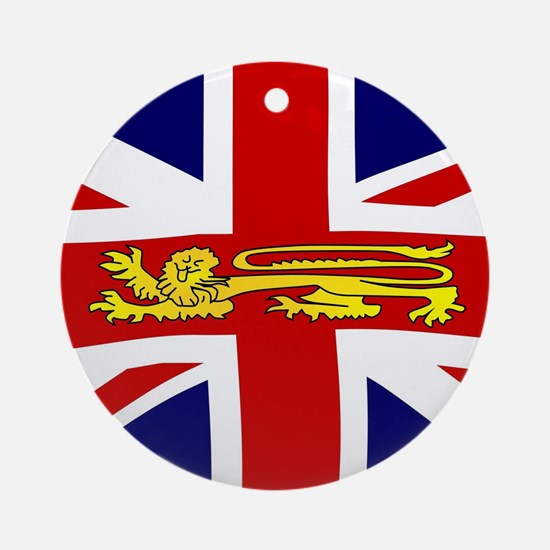 British Lion On The Union Jack Flag Round Ornament