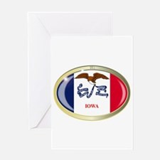 Iowa State Flag Oval Button Greeting Cards