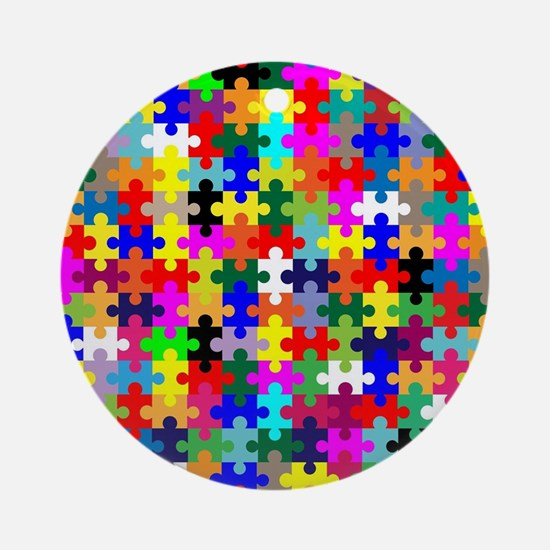 Jigsaw Pieces In Colour Round Ornament