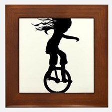 Little Girl On A Unicycle Framed Tile