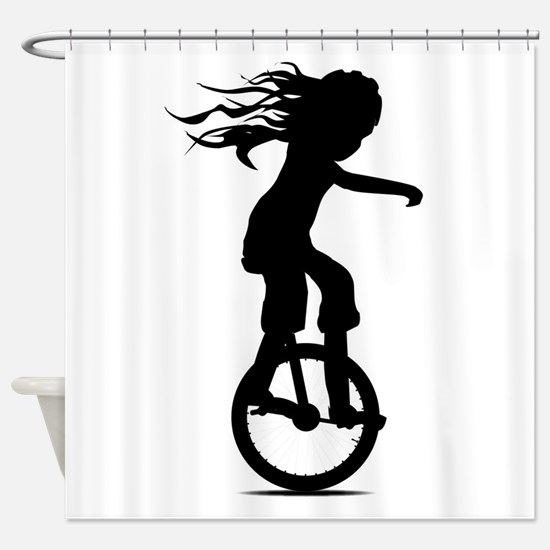 Little Girl On A Unicycle Shower Curtain