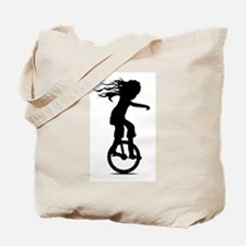 Little Girl On A Unicycle Tote Bag
