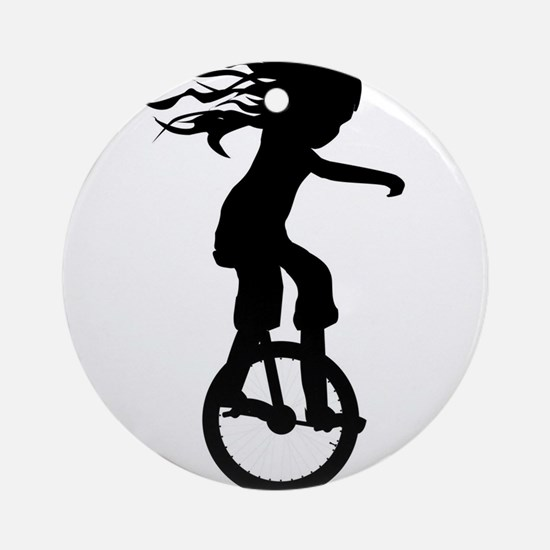 Little Girl On A Unicycle Round Ornament