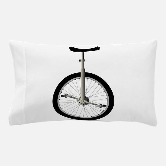 Unicycle On White Pillow Case