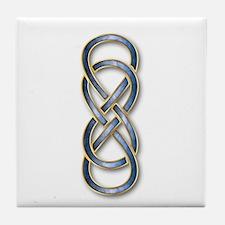 Double Infinity Cloisonne Blue Gold Tile Coaster