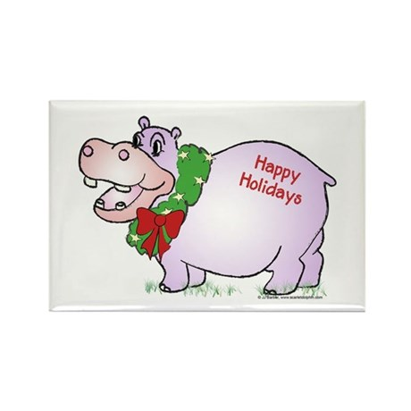 Holiday Hippo Rectangle Magnet