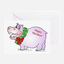 Holiday Hippo Greeting Card