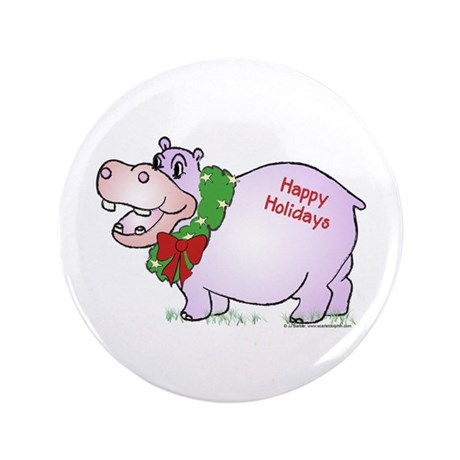 """Holiday Hippo 3.5"""" Button (100 pack)"""