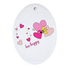 Bee Happy Oval Ornament