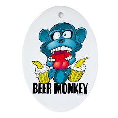 Beer Monkey @ eShirtLabs.Com Oval Ornament