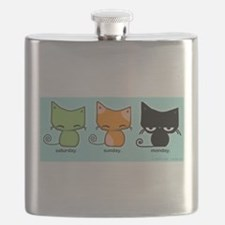 Saturday Sunday Monday Cats Flask