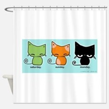 Saturday Sunday Monday Cats Shower Curtain