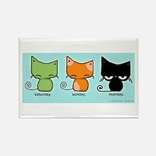 Saturday Sunday Monday Cats Magnets