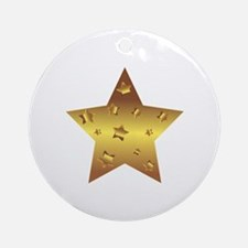 Cute Gold star Round Ornament