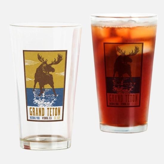 Grand Teton Moose Vintage National Drinking Glass