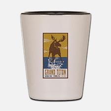 Grand Teton Moose Vintage National Park Shot Glass
