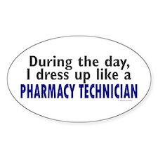 Dress Up Like A Pharmacy Technician Oval Decal