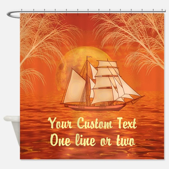 Personalized Sailboat Beach Shower Curtain