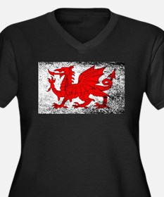 Welsh Dragon Grunge Plus Size T-Shirt