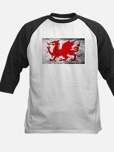 Welsh Dragon Grunge Baseball Jersey