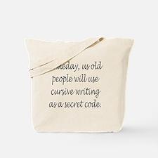 Cursive Secret Code Tote Bag