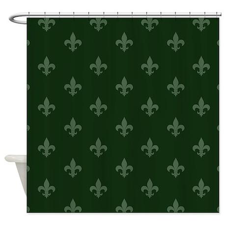 Fleur de lis forest green shower curtain by admin cp1519247 - Forest green shower curtain ...