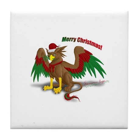 Christmas Gryphon Tile Coaster