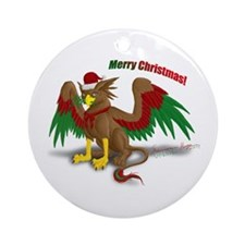 Christmas Gryphon Ornament (Round)