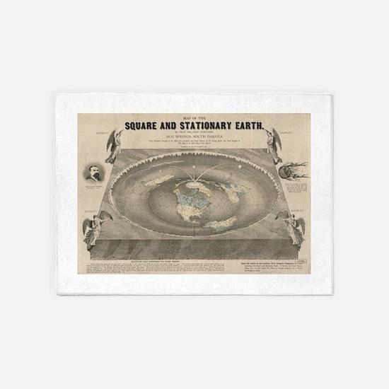 Flat Earth Map, 1893 5'x7'Area Rug