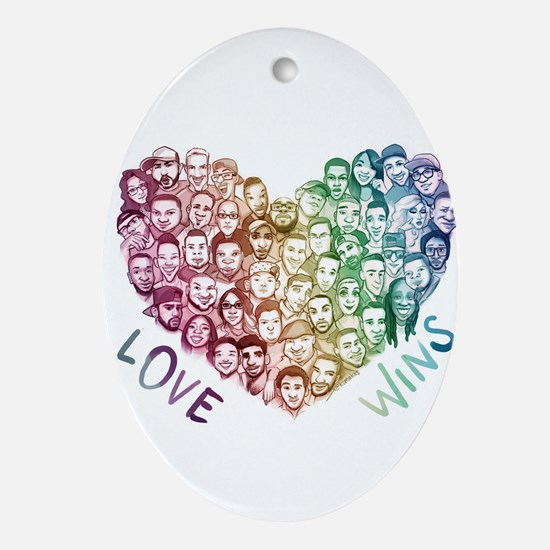 Love Wins Oval Ornament