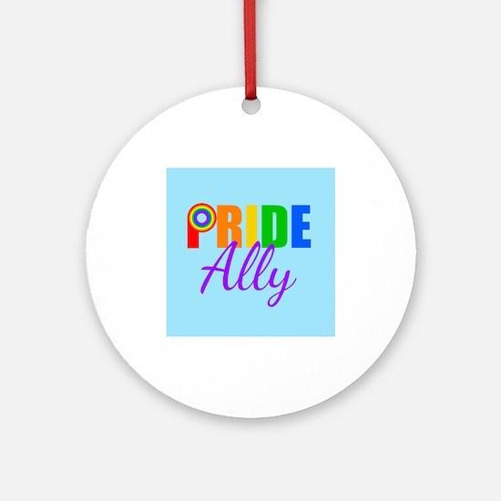 Gay Pride Ally Round Ornament