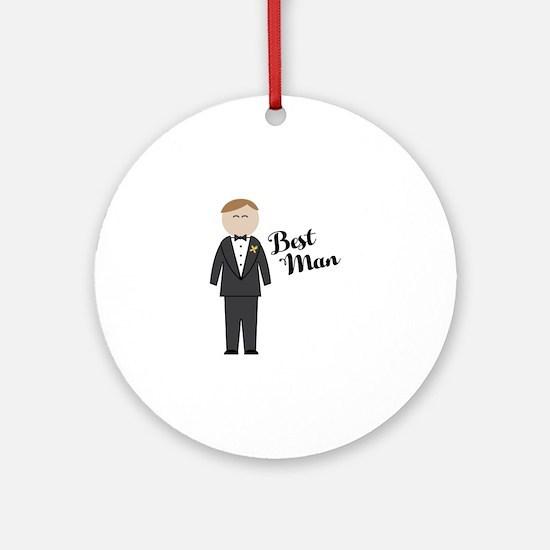 Best Man Round Ornament