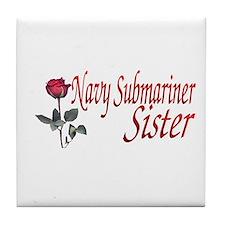 navy submariner rose Tile Coaster