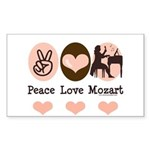 Peace Love Mozart Rectangle Sticker