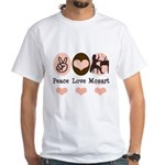 Peace Love Mozart White T-Shirt