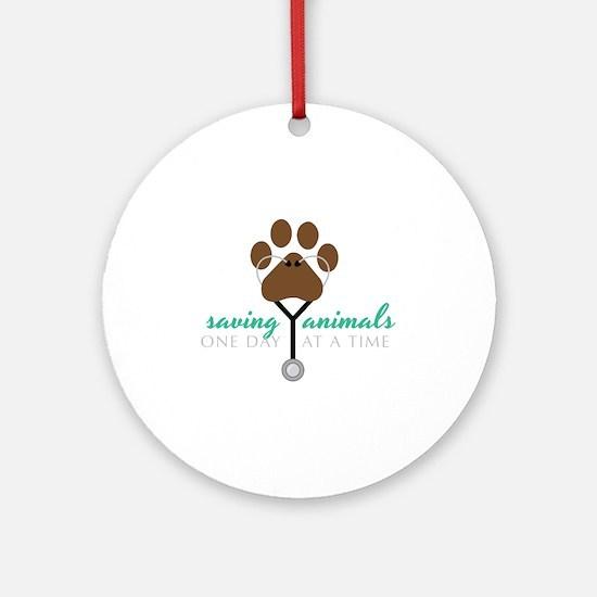 Saving Animals Round Ornament